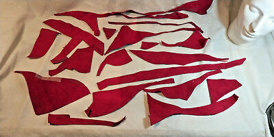 Selection of Red coloured Leather Off-cuts for Arts & Crafts 150 g