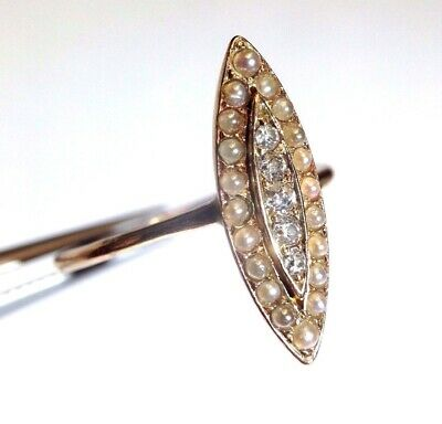 Elegant Antique Victorian Gold Navette Mine Cut Diamond Seed Pearl Ring Size 8.5