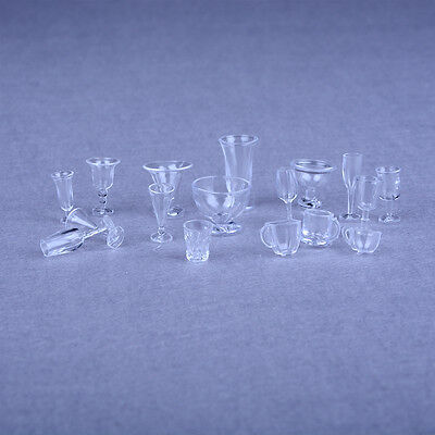 17pcs Dollhouse Miniature Ice Cream Cups Set Toy Kitchen Dining-Room Clear Kj