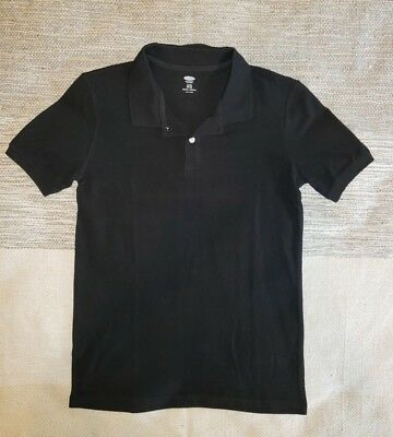 Old Navy Boys Sz XL 14-16 Pique Short Sleeve Black Uniform Polo 100% Cotton New