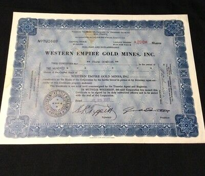 1933 Western Empire Gold Mines, Inc. - MINING - Stock Certificate - Nevada
