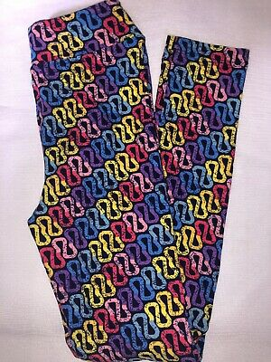 (BoxC) LuLaRoe Kids Leggings L/XL New Navy W/ Rainbow Color Design