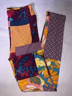 (BoxD) LuLaRoe Kids Leggings L/XL New Multicolor Block Floral & Diamond Shapes
