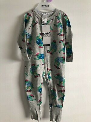 Bonds Baby Zip Wondersuit/Babygrow Nwt Aliskater  Grey Marle Unisex All Sizes