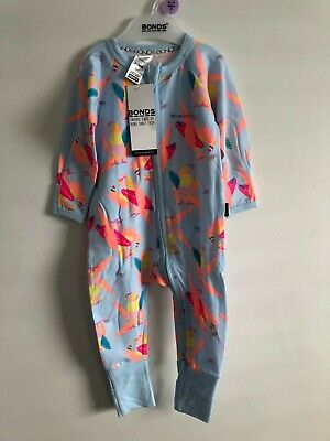 Bonds Baby Zip Wondersuit/Babygrow Nwt Surfing Bird Blue Marle Unisex All Sizes