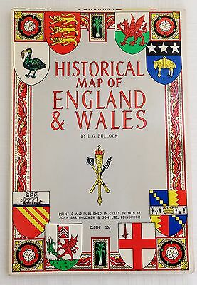 1971 L.G. Bullock Historical Map Of England And Wales, Cloth-VG condition