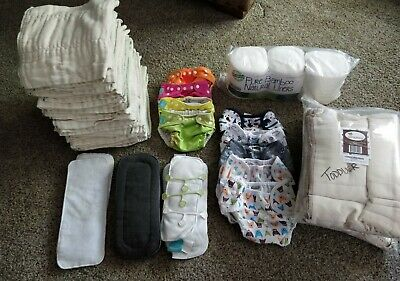 Prefolds and pocket cloth diaper lot