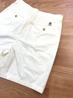 VINTAGE VTG 90s TOMMY HILFIGER CHINO SHORTS 32 CREST OFF WHITE GOLF CASUAL MENS