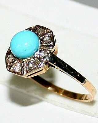 ANTIQUE ART DECO FRENCH BI COLOR 18k GOLD ROSE DIAMOND 6mm TURQUOISE RING c 1920