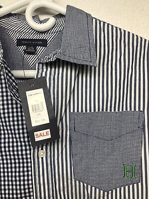 Tommy Hilfiger Striped Checked Blue White Long Sleeves Boy  Dress Shirt L 12-14