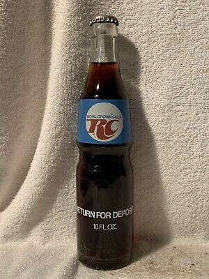 FULL 10oz ROYAL CROWN COLA BLUE ACL SODA BOTTLE RETURN FOR DEPOSIT