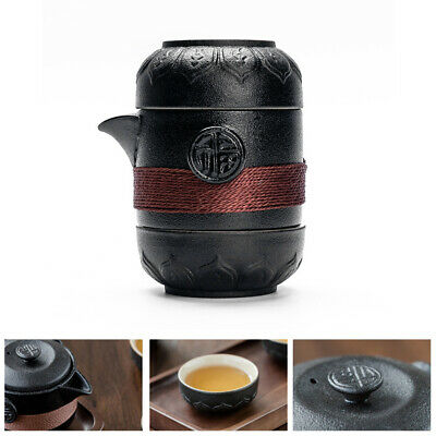 Anti Slip Coffee Container Tea Set Travel Black Pottery One Pot Two Cups Ceramic