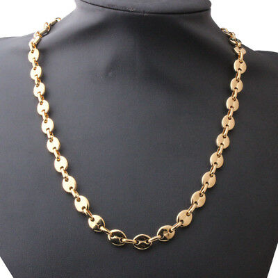 """9mm Fashion Stainless Steel Gold Tone Coffee Bean Necklace Men Women Jewelry 22"""""""
