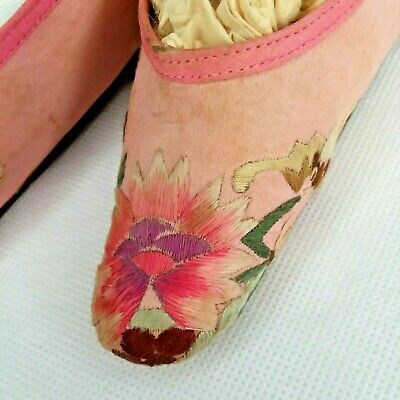 19th C Chinese Silk Lotus Embroidered Widow Stitch Bedrm Binding Shoes Light Use
