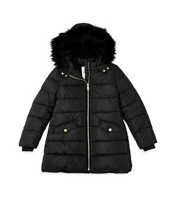 Girls M*S Black Hooded Winter Padded School Coat 4,5,6,7,8,9,10 Yr NEW Excellent