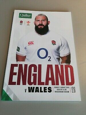 England Vs Wales Quilter Rugby Official Programme 11/08/19 Twickenham Stadium