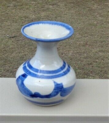 Lovely Australian Pottery Small Posy Vase *Stephen Day *Beige & Blue Glazes