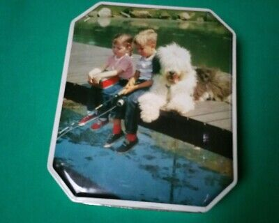 Vintage Burtons Biscuit Tin Kids Fishing with Shaggy Dog made in Great Britain