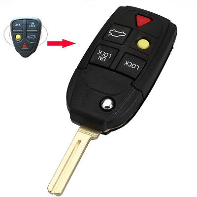 1PC Flip Key Shell fit for VOLVO S60 S80 V70 XC70 XC90 5 Button Remote Case Fob