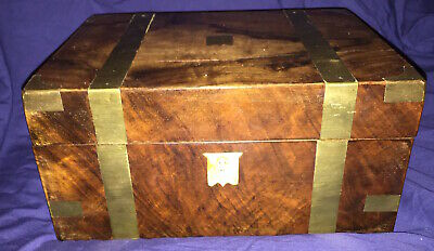 Antique Victorian Wooden Writing Slope Brass Bound Box