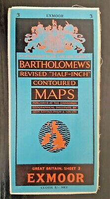 "Bartholomew's Cloth ""Half-Inch"" Contoured Map. Sheet Number 3 EXMOOR"