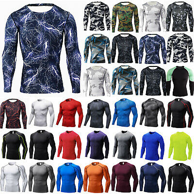 Mens Compression Sports Base Layer Tops Long Sleeve Slim Fitness Running T Shirt