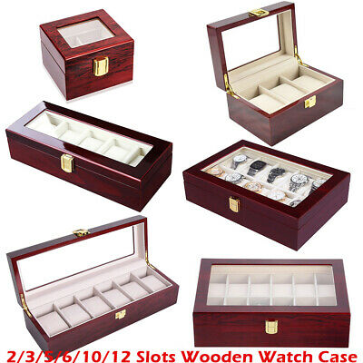 2/3/5/6/10/12 Slots Watch Box Wooden Watch Display Case Glass Top Collector Box