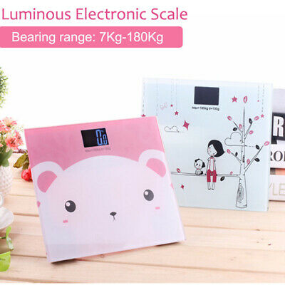 Electronic Digital Backlit Glass Body Bathroom Scale 180KG scale Gym Weight Gift