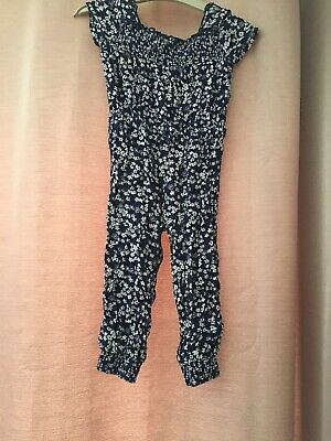 Girls Blue Zoo Jumpsuit Navy Flowers Age 2-3 Years