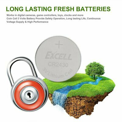 EXCELL 5pcs 3V CR2430 Lithium Coin Cell Button Battery for RF Card Tuner Watch@