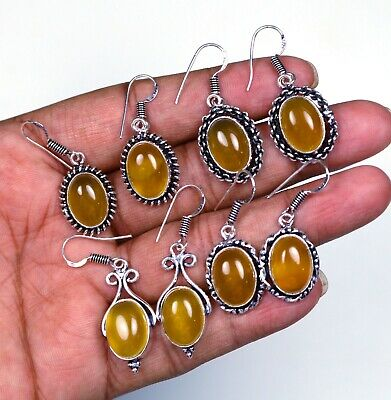 Best Sale Lot !! Natural Yellow Chalcedony Gemstone Silver Plated Earring Pairs