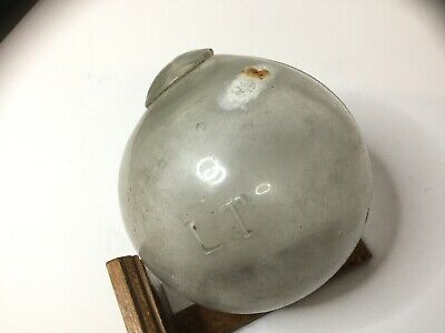 """Antique Clear Glass Vintage Hand Blown Glass Fishing Float Stamped """"LT"""" #12"""
