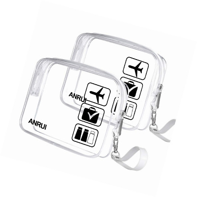 2pcs/Pack ANRUI Toiletry Bag with Strap, TSA Approved Carry On Airport Airline C