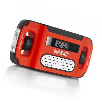Duronic AM/FM Radio APEX | Charge 3 Ways: Solar, Wind Up, USB | Dynamo Crank Rec