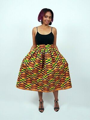African print Kente Midi Skirt - CHIAZOKAM - Ghana wax print skirt - clothing