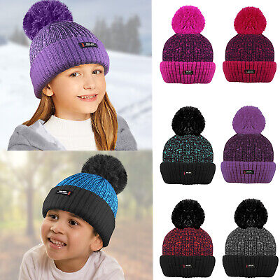 Kids Thermal Winter Woolly Pompom Bobble Beanie HAT Insulating Fleece lining