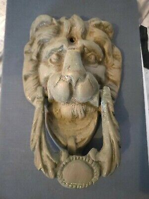 LION head old heavy front Door Knocker SOLID vintage antique