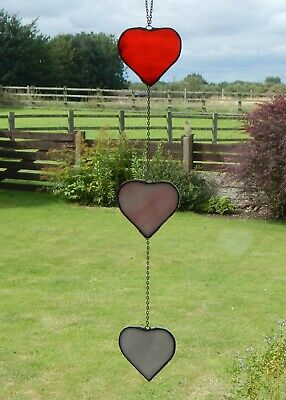 Handcrafted Stained Glass 3 Love Hearts Suncatcher/Hanger Gift/Home Decoration