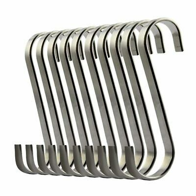 Set of 10 S Stainless Steel Suspension Hooks for Kitchen Cookware or Butche F4U9