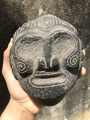 Taino Cemi Pre Columbian Stone Macorix Head Figure Antique