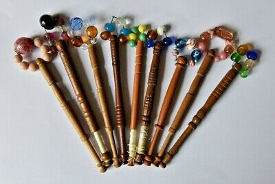 Lace Bobbins x 9 decorated and with old bead spangles - vintage wood