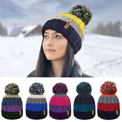 Ladies Mens Thermal Insulating Striped Beanie Bobble Hat Warm Cosy Fleece Lining