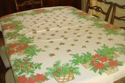 "Vintage Christmas tablecloth White with Red Poinsettia baskets- 66"" x 52"""