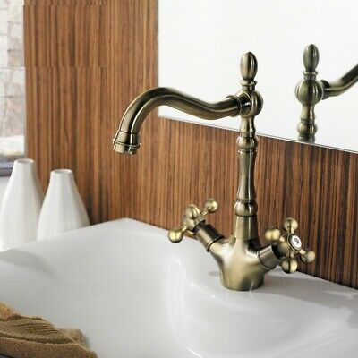 Kitchen Faucet Retro Style Double Handle Antique Bronze Brass Hot Cold Water Tap