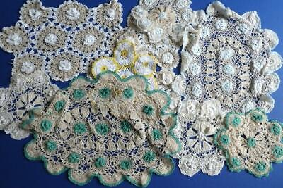 10 Mixed Vintage Crocheted Table, Dressing Table Mats, Doilies Crafts Weddings