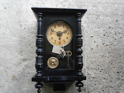 Lovely period antique wall clock, with key and pendulum
