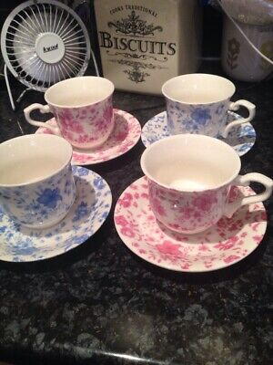 Whittard  Pink/blue  Ol Victoria Chintz Cups And Saucers Bone China X 4