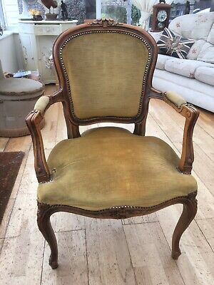 Victorian Walnut Upholstered Armchair With Carved Cabriole Legs