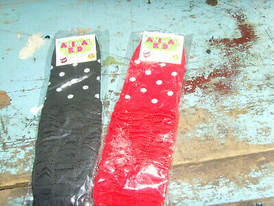 NEW  2 pairs toddler - child Animal Kids polka dot red and black leg warmers set