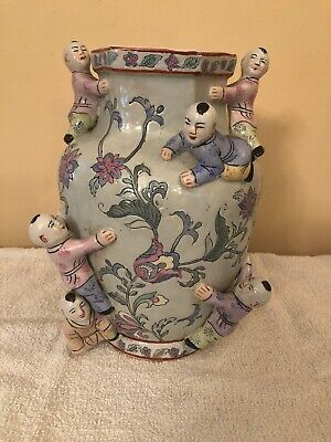 Vintage Chinese Fertility Vase Babies Climbing Flowers Hexagon 10""